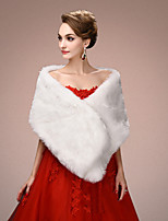 Women's Wrap Shawls Sleeveless Faux Fur White Wedding / Party/Evening Wide collar 45cm Draped Open Front