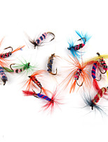 Anmuka 12pcs Dry Fly Lures Single Hook Various Colors Feather Hook Trout Fishing Dry Flies