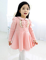 Girl's Casual/Daily Patchwork Dress,Cotton Spring / Fall Blue / Pink