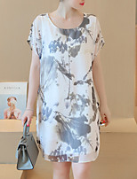 Women's Plus Size / Going out / Daily Simple Shift Dress,Print Round Neck Above Knee Short Sleeve White Polyester Summer
