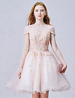 Cocktail Party Dress Ball Gown Jewel Short / Mini Organza with Beading / Flower(s) / Sash / Ribbon