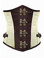 Brown and Lvory Underbust Corset Goth Buckle Highest Quality Flowers Pattern Steampunk Corset