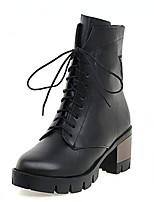 Damen-Stiefel-Outddor / Kleid / Lässig-Kunstleder-Flacher Absatz-Plateau / Modische Stiefel / Flache Schuhe / Komfort / Armeestiefel /
