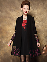 Women's Going out / Formal Vintage / Simple Chiffon Dress / Embroidered Asymmetrical Knee-length Long Sleeve Black Fall