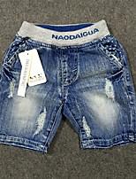 Shorts Boy-Casual/Diario-Retazos-Algodón-Verano-Azul