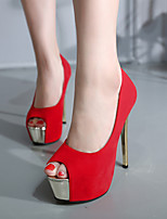 Women's Sandals Summer Sandals / Open Toe Suede Dress Stiletto Heel Others Black / Red Others