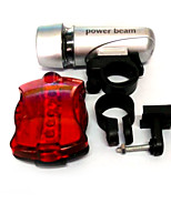 5LED White Light Bike Headlight Silver 5LED Rear Lamp Red (4 XAAA / 2 xAA)