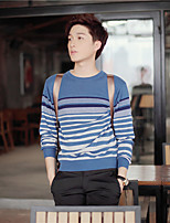 Men's Striped Casual Pullover,Cotton Long Sleeve Black / Blue