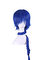 Peruca Magic Flute Anime Pelucas Pelo Natural Wig Perruque Blue Short Braid Synthetic Wigs Halloween Cosplay Pelucas