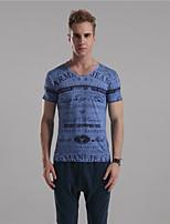 Mr D® Men's V Neck Short Sleeve T Shirt Blue / Gray / Brown-6
