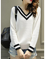 Women's Going out /Cute Regular Pullover,Color Block White / Gray / Green V Neck Long Sleeve Nylon Spring / Fall