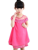 Girl's Casual/Daily Solid Dress,Others Summer Blue / Pink / Red