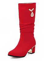 Chaussures Femme-Bureau & Travail / Habillé / Soirée & Evénement-Noir / Rouge-Gros Talon-Bout Arrondi / Bottes à la Mode-Bottes-Laine
