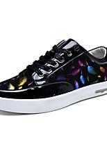 Herren-Sneaker-Lässig-Nappaleder / Lackleder-Flacher Absatz-Flache Schuhe-Schwarz / Blau / Gold