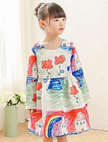 Girl's Cotton Spring/Autumn Graffiti Print Design Fairy Princess Dress