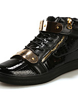 Men's Bootie PU Outdoor Flat Heel Zipper / Lace-up Black / Blue / White Walking EU39-43