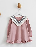 Girl's Casual/Daily Patchwork Dress / Blouse,Cotton Spring / Fall Pink / White / Gray