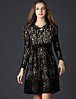 Boutique S Women's Going out Cute  Dress,Solid V Neck Above Knee Long Sleeve Black Polyester Spring