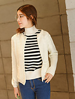 Women's Casual/Daily Simple Short Cardigan,Solid White / Gray Round Neck Long Sleeve Acrylic Spring Medium