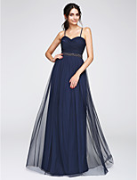 TS Couture® Floor-length Tulle Bridesmaid Dress A-line Spaghetti Straps with Beading / Criss Cross