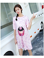 Casual/Daily Cute T Shirt Dress,Floral Round Neck Above Knee Short Sleeve Green / Purple Cotton Summer