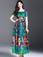 ES·DANNUO Women's Sophisticated Print Swing Dress,Boat Neck Maxi Silk