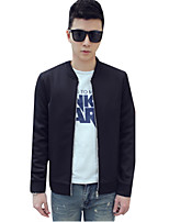 Summer/Fall Men's Casual/Daily Simple Coat Solid Color Stand Collar Long Sleeve Fashion Slim Jackets Tops