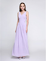 Lanting Bride® Ankle-length Chiffon Bridesmaid Dress - Elegant Sheath / Column V-neck with Criss Cross