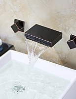 Waterfall Bathroom ORB Body Waterfall Spout Oil Rubbed Bronze Dual Handle Bathtub Vessel Faucet