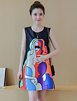 Maternity Going out Street chic Loose Dress,Print Round Neck Above Knee Sleeveless Black Polyester Summer