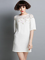 Boutique S Women's Going out Cute Loose Dress,Solid Round Neck Above Knee ½ Length Sleeve White Others Fall