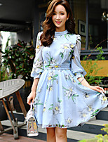 Women's Going out / Holiday Vintage / Cute / Street chic A Line Dress,Floral / Color Block Round Neck Above Knee¾