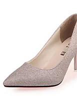 Черный / Золотистый-Женский-Свадьба-Полиуретан-На шпильке-На каблуках-Обувь на каблуках