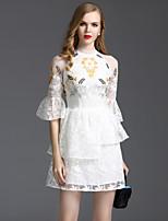 Viva Vena® Damen Rundhalsausschnitt 1/2 Ärmel Mini Kleid-VA88240