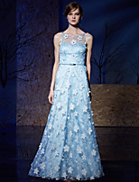 Formal Evening Dress A-line Jewel Floor-length Tulle / Charmeuse with Embroidery / Sash / Ribbon