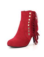 Damen-Stiefel-Kleid-Kunstleder-Stöckelabsatz-Modische Stiefel-Schwarz / Blau / Rot