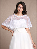 Women's Wrap Shrugs Sleeveless Lace White Wedding / Party/Evening / Casual Scoop 30cm Lace Pullover