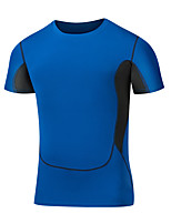 Men's Color Block SportNylon Short Sleeve-Black / Blue / Green