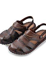 Sapatos Masculinos-Sandálias-Marrom / Amarelo-Couro-Casual