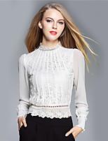 BOMOVO® Women's Stand Long Sleeve T Shirt White / Pink-B16QA91