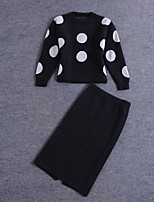 Boutique S Women's Casual/Daily Street chic Fall Set Pant,Polka Dot Round Neck Long Sleeve Cotton Medium