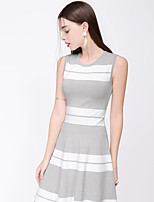 TAMMY TANGS  Women's Street chic Striped Sheath Dress,Round Neck Above Knee Polyester