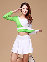 Latin Dance Outfits Women's Training Cotton / Milk Fiber Pleated 2 Pieces Fuchsia / Light Green Long Sleeve Top / Pants