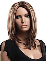 rubia de color mixto pelucas rectas medias marrones sin tapa pelucas sintéticas para mujeres