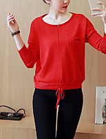 Women's Going out / Casual/Daily Street chic RegularSolid Red / Brown Round Neck Long Sleeve Cotton
