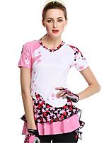 Esportivo Moto/Ciclismo Camisa Mulheres Manga Curta Respirável / Confortável / Filtro Solar Elastano / Seda Clássico RosaS / M / L / XL /