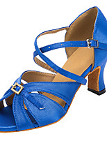 Non Customizable Women's Dance Shoes Flocking Flocking Latin / Salsa Sandals / Heels Flared Heel Indoor Blue