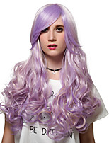 Purple streaked long curly hair, fashion wigs.