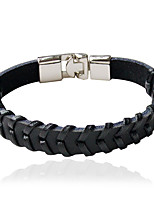 Leather Bracelets 1pc,Personality Circle Black / Brown Alloy Jewelry Gifts