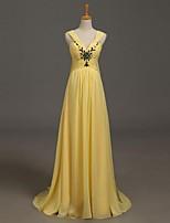Formeller Abend Kleid A-Linie V-Ausschnitt Pinsel Schleppe Chiffon mit Perlstickerei